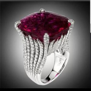 New female ruby gemstone silver wedding ring